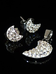 Toonykelly Exquisite Moon Stainless Steel(Necklace with Earring Stud)Jewelry Set
