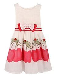 vestidos de princesa tulipán floral fiesta vestido de verano impresión del arco de los niños del desfile de cumpleaños de la ropa de la muchacha
