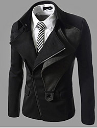 Playgame Men's Casual Inclined Zipper Coat