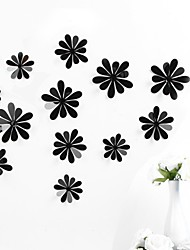 3D Wall Stickers Wall Decals,PVC DIY Flowers Pure Color Wall Stickers 12 Pieces/Set