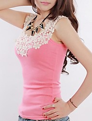 Women's Lace Blue/Pink/White/Black/Green/Yellow/Gray T-shirt/Vest , Round Neck Sleeveless