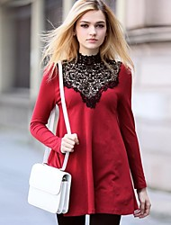 Women's Casual Lace A Line Dress , Turtleneck Mini Cotton