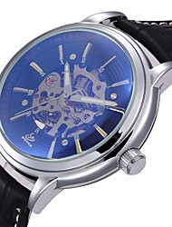 Men's Auto-Mechanical Retro Hollow Dial PU Leather Band Wrist Watch (Assorted Colors)