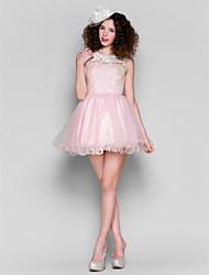 Dress - Blushing Pink A-line Jewel Short/Mini Tulle