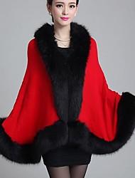 wms outono e inverno puro-color xale malha casaco de pele de tamanho grande das mulheres