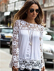 FIFI Women's Lace White Tops & Blouses , Sexy / Casual / Work Round Long Sleeve