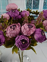 "2 Bundles Purple Peach Artificial Peony Bouquet 11.8"" for Home Decoration"