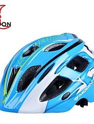 17 aberturas de eps + pc azul integralmente-moldados capacete de bicicleta do garoto lua (52-55cm)