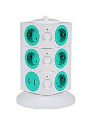 protetor de sobrecarga 5v / 2.1a 3 andar, com 11 pontos de venda da UE e duas réguas de energia USB