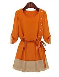 Women's Patchwork Orange Dress , Casual Round Neck ½ Length Sleeve