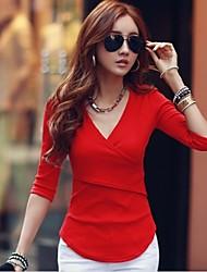 casuale maglia di colore solido delle donne mg