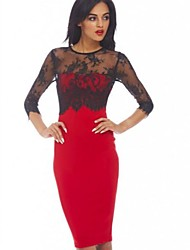 Women's Plus Sizes Lace Splice Pencil Dress