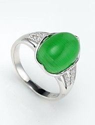 AS 925 Silver Jewelry Green Opal Ring