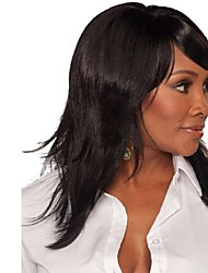 Capless Mix Color Medium Length High Quality Natural Curly Hair Synthetic Wig with Side Bang