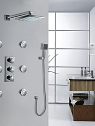 Wall Mounted LED Chrome Thermostatic Rainfall Shower Faucet Set (I-005001)
