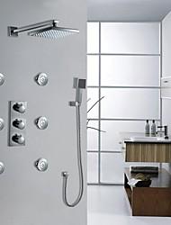 montado en la pared llevó conjunto termostático de ducha de lluvia grifo cromado (i-005001)