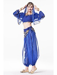 Belly Dance Stage Performance Outfits with Pants Indian Style Costume-Set of 4(More Color)