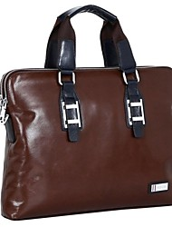 versátil bolsa de ordenador portátil de asas de los hombres genuino sólido maletín de cuero