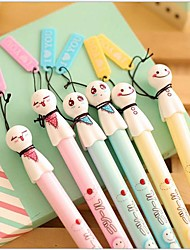 Japanese Doll Ornament Black Ink Gel Pen(1 PCS Random Color)