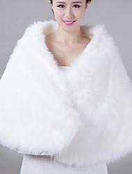 White Fur Cape Bride Winter Warm Wool Shawl