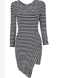 ME.ME  Women's Sexy/Party/Work Round Long Sleeve Dresses (Cotton)