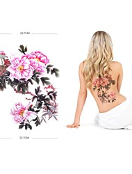 PC 1 impermeable gran rosa rosa respaldo pegatinas patrón de tatuaje