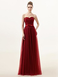 Floor-length Lace Bridesmaid Dress - Burgundy A-line Sweetheart