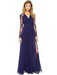 Women's Solid Sexy Lace Splicing V-Neck Maxi Dress