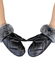 Fashion Women's Rex Rabbit Fur&Down Feather&Lambskin Leather Gloves
