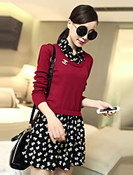 Women's Casual/Daily Dress,Print Above Knee Long Sleeve Pink / Red / Beige / Black / Green Cotton Fall / Winter