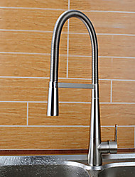 Centerset Contemporary Style Brushed Finish Brass Kitchen Faucet