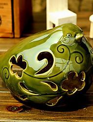Green Ceramic Hollow Bird Candle Holder