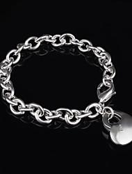 Women's Fashion Heart Silver Plated Charm Bracelet