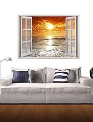 3d Stickers muraux stickers muraux, lever du soleil à la mer décor vinyle stickers muraux