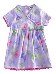 impression robes papillon robe violette enfants manches courtes d'été des robes de fille