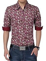 Men's Long Sleeve Shirt , Cotton/Polyester Casual/Plus Sizes Print