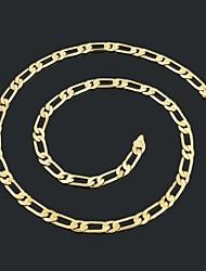 Figaro 60 centímetros homens cadeia dourado chapeado colares cadeia (largura 7 milímetros)