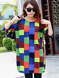 Women's Patchwork T-shirt , Crew Neck Long Sleeve