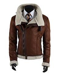 cordero cremallera oblicua de la chaqueta de cuero delgado coreano de algodón de la capa o de los hombres
