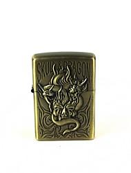 Creative Flame Human Skeleton Dragon Pattern Oil Lighter - Antique Brass