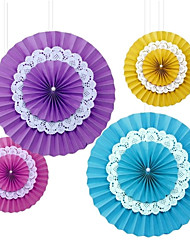 Wedding Décor 5 pcs New Arrival DIY Beautiful Paper Hanging Fans for All Party/Celebration  (More Colors)