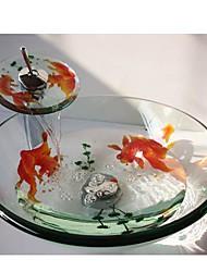 poissons rouges rondes trempé évier récipient en verre avec robinet cascade, pop - up vidange et bague de montage