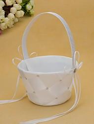 Simple Flower Basket In White Satin With Rhinestone Flower Girl Basket