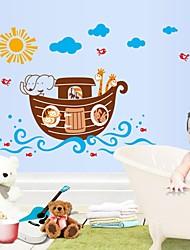 parede adesivos de parede etiqueta, desenhos animados do animal de navio a vapor do banheiro à prova d'água adesivos