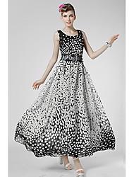 ls Damenmode lässig Tupfen schwingen Kleid
