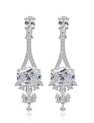White Gold Plated CZ Drop Earrings Unique Design Full Of Crystals Long Dangle Earrings