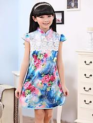 manica corta cinese cheongsam / abito da principessa delle ragazze
