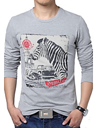 Masculino Camiseta Algodão / Poliéster Estampado Manga Comprida Casual / Tamanhos Grandes-Azul / Branco / Cinza