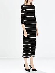 simples longues rayures occasionnels de femmes se habillent
