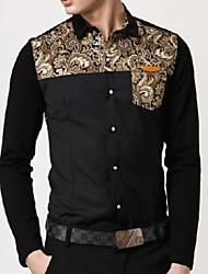 Men's Splicing Suihua Knitting Cuff Spell Shirt